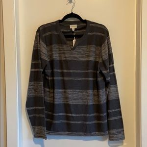 Red Squad by Le Chateau Grey Striped Sweater